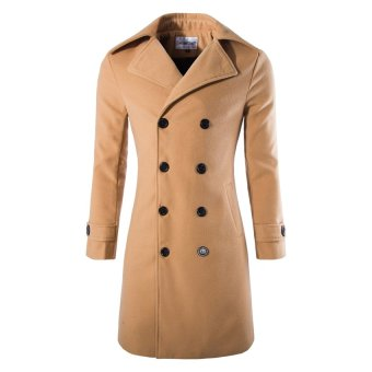HAOFEI Mens Winter Long Jacket Double Breasted Khaki - INTL