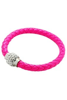 Girl Gift New Mix Color Punk Leather Magnetic Rhinestone Cuff Buckle Bracelet Bangle rose red- Intl