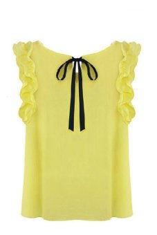 New 2014 Womens O Neck Lotus Leaf Pullover Lace Bow Chiffon Shirt Tops Summer Womens Blouse White Yellow