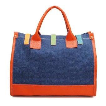 Vintage Large Handbag Canvas Shoulder Bag Blue - INTL