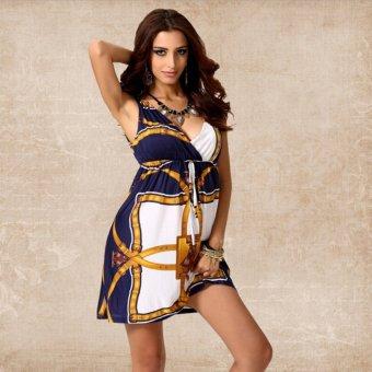 LCFU764 Summer V-neck accept waist of dress Ice silk dress-yellow - Intl