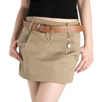 Summer Women Shorts Low Waist Classic Design Cotton Sexy Shorts(With Belt) for Club OL Ladies(khaki) - INTL