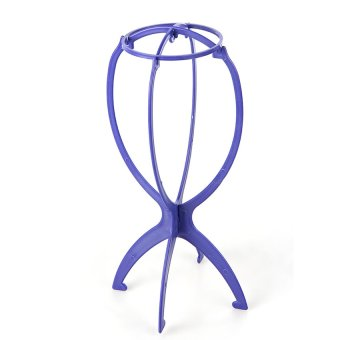 HAOFEI Plastic Folding Stable Durable Wig Hair Cap Display Holder Stand Tool Blue - INTL