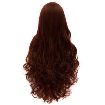Cosplay Wig Dark Red Long Curly Hair Wig Euramerican Style (Intl)