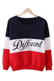 ASTAR Korea Womens Letters Printed Different Mix Casual Loose Sweater Pullover Tops Hoodie (Black) - Intl