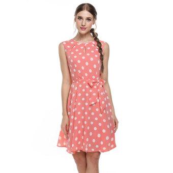 Cyber Zeagoo Women Sleeveless Polka Dots Chiffon Flare Flim Cocktail Party Dress w/ Belt(pink) (Intl)