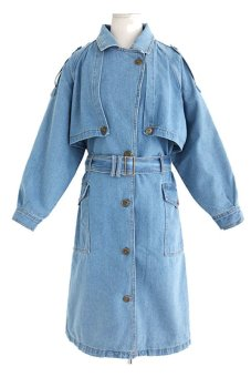 Women's Long Jeans Denim Trench Jacket Outcoat With Long-sleeved (Light Blue)