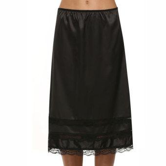Cyber Avidlove Summer Stylish Ladies Women?Below Knee Lace Splicing Solid Sexy Skirt(Black) (Intl)