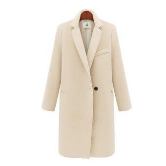 Women Wool Coat Overcoat Long Sleeve Overcoat Single Button Turn-Down Collar Worsted Outerwear Coat(Cream) (Intl)