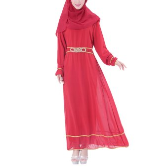 Niyatree Muslim Church Muslimah Women Knotted Waist Long Dress - Red - Intl