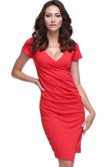 Cyber Women's Sexy V-Neck Slim Bodycon Drape Pleated Irregular Dress (Red)