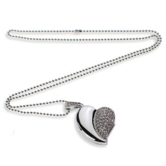 64GB Crystal Asymmetric Heart Shape Jewelry USB Flash Memorry Drive with Necklace (Silver) (Intl)