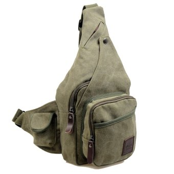 Fashion New Style Canvas Zipper Shoulder Bags Chest Bag (Army Green) - Intl