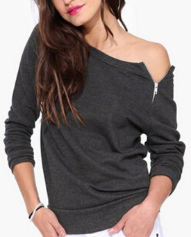 Fashion Solid Color Long-sleeved Side Zipper Sexy T Shirt Casual Women Clothing Tops (Gray) (Intl)