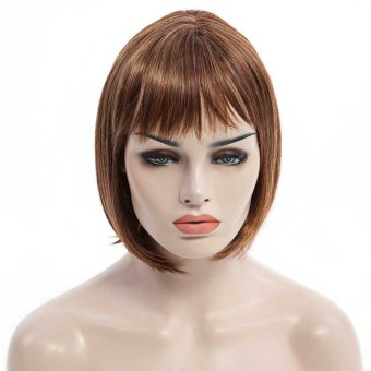 Side Bang Light Brown Mixed Short Straight Bob Charming Synthetic Stylish Capless Wig For Women - Intl