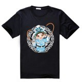 The Cartoon Image Of Beijing Opera Cotton Soft Men Short Sleeve T-Shirt (Black) - Intl