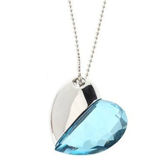 64GB Shiny Crystal Heart Shape USB Flash Drive with Necklace(Light Blue) (Intl)