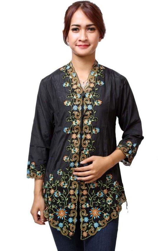 harga Batik Distro BA5076 Kebaya Wanita Lengan Pendek Bunga Hitam Lazada.co.id