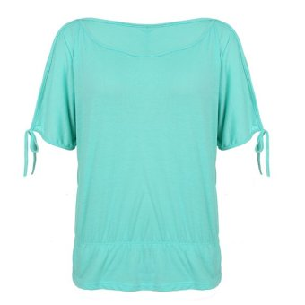 Cyber Fashion Women Casual Off Shoulder Solid Blouse Tops O-Neck Tunic T-Shirt Tops (Intl)
