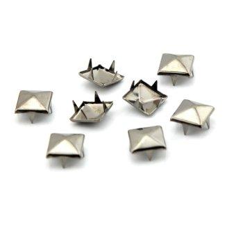 eMylo 100pcs 10mm Pyramid Square DIY Metal Studs 4 Prongs Spots Nailheads Spikes for Bag Shoes Jeans Bracelet Gun (Black)