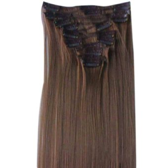 12Pcs/Set Women Synthetic Hair Extension Full Head Clip In Straight Hairpieces Natural Long Wig 6# (Intl)