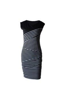 V-neck short-sleeved striped stitching Dress - Black