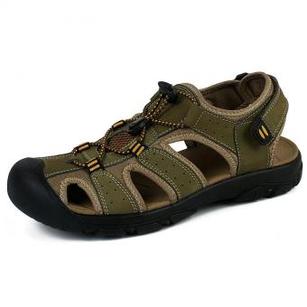 PATHFINDER Men Flat Leather Sporty Slipper Sandals Shoes (Green) - Intl