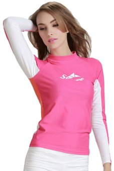 Women Swimwear Swimsuit Spring Autumn Rashguard Snorkeling Diving Surf Windsurf T Shirts Tops Long Sleeve – Roseo (Intl)