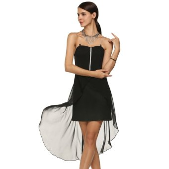 Whyus OEM store Women Sexy Transparent Spaghetti Strap Irregular Hem Dress(Black) - INTL