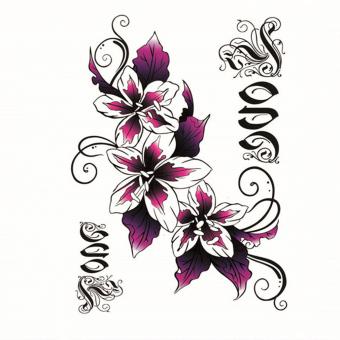 Temporary Tattoo Sticker Flower Lily Design for Back / Abdomen Caesarean Scar Decal Waterproof Sex Products Body Art - INTL