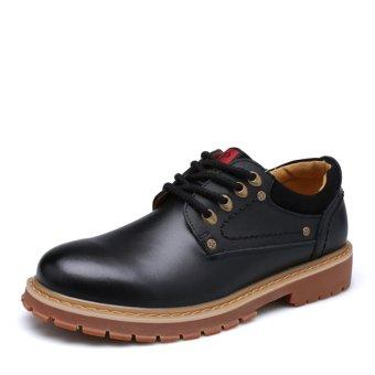 Men leather lace shoes Flat Shoes Black (Intl)