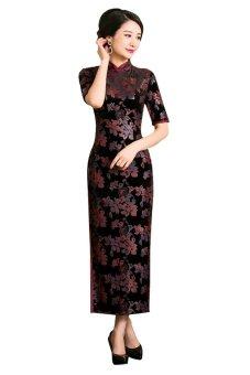 Fashionable Ankle Length Floral Print Velvet Cheongsam - Intl