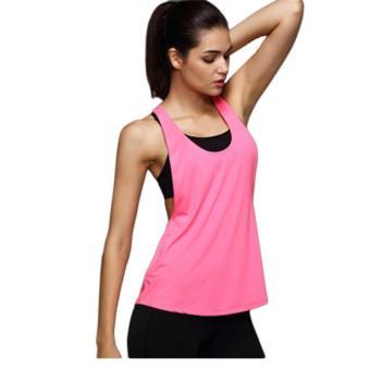 Hang-Qiao Summer Sexy Women Tank Tops Quick Dry Loose Gym Fitness Sport Vest Hotpink - Intl