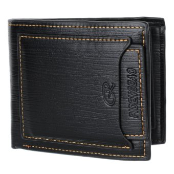 Vintage C-H1002 Genuine Cowhide Leather Wallet Black - Intl
