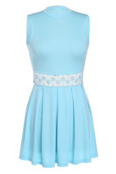 Cyber Stylish Lady Women's Party Sleeveless O-neck Sexy Dress ( Blue )