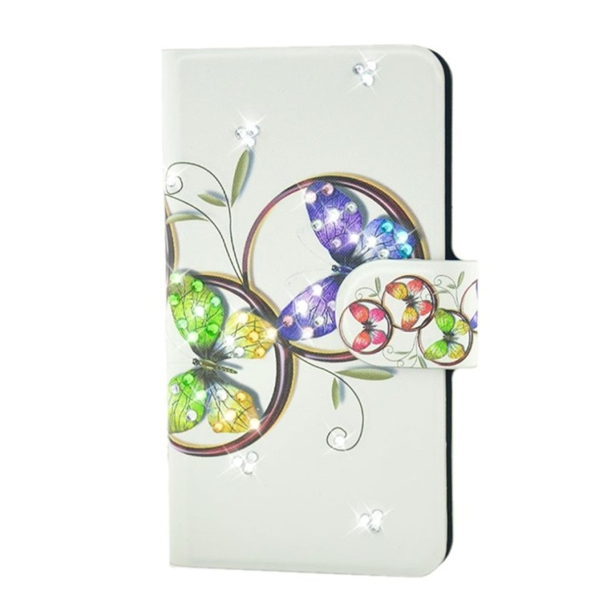 Rhinestone Colorful Butterfly Design Card Slot Magnetic PU Leather Flip Case Cover Compatible For HTC One MAX T6 803S 808 809D