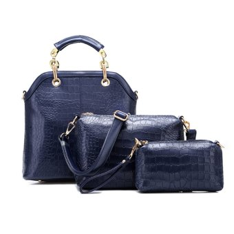 360DSC Rose Stone Lady 3 Piece Alligator Pattern Lash Package Multiple Purse Crossbody Bag Handbag - Dark Blue- INTL