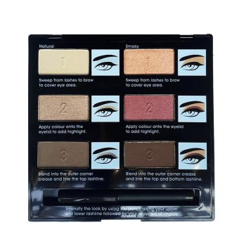 Hasaya Girl Classic Smoky - 6 Colours Eyeshadows & 1 Pensil Eyeliner Hitam