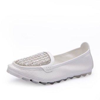 Women's Rhinestone Flat Shoes BL6683 White - Intl
