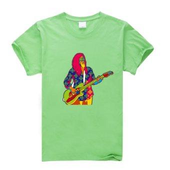 Guitarist Cotton Soft Men Short Sleeve T-Shirt (Green) - Intl