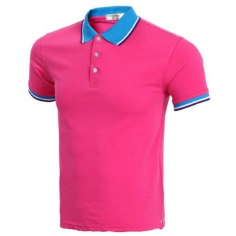 New 2016 Classic Summer Style Short Sleeve Polo Homme Casual Mens Solid Polo Shirt Brands Logo Cotton Top quality Plus Size(Rose Red) - INTL