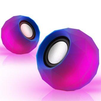 Portable USB LED Desktop Speaker Loudspeaker Music Player for Computer (Purple)
