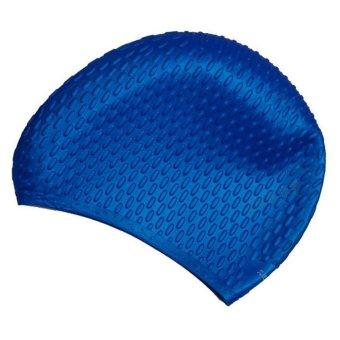 360DSC Waterdrop Design Swimming Cap Silicone Waterproof Long Hair Earmuffs Cap for Adult Men & Women - Dark Blue- Intl