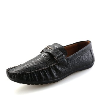 Men Shoes Flat Shoes brand genuine leather Loafers Dress Shoes Handmade cattlehide PY518F105A(black) - Intl