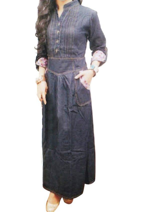 harga DJI Dress Gamis Jeans 303 - Navy Lazada.co.id