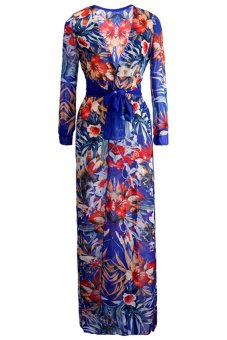 S & F Summer Boho Chiffon Hippie Split Maxi Dress (Multicolor)