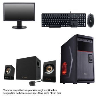 Intel - Komputer Basic + Monitor + Keyboard + Speaker - Intel G3240 - RAM 2 GB - 500 GB - Hitam