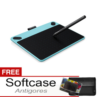 Wacom Intuos Comic CTH-490 Pen & Touch Small Mint Blue + Gratis Softcase & Antigores