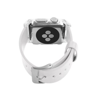 Ultra Thin Crystal Clear Transparent PC Case + Leather Watchband for Apple Watch 42mm(White) (Intl)