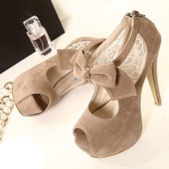 Womens Peep Toe Platform Suede Sweet Heels with Bow (Apricot) (Intl)